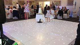 16ft x 16ft LED sparkling dancefloor setup for a wedding in Barony Castle Hotel, Peebles. Dance floor hire Scotlad, led floor hire, led dancefloor hire Glasgow, danefloor hire Edinburgh, wedding dancefloor hire, wedding hire Scotland.