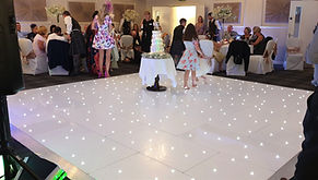 16x16 Dancefloor setup for a wedding reception at Barony Castle Hotel, Peebles.  White led dance floor, dancefloors Scotland. Dancefloor & Photobooth hire Scotland. Letter light hire Glasgow, Edinburgh, Stirling, Ayr, Central Scotland.