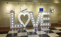 5ft LOVE light letters setup in the House for an Art Lover, Glasgow. Love letters, love lights, light up love, 5ft LOVE lights, ight up letters, letter light hire, light letter hire Glasgow. Wedding Hire, delivery across Scotland.