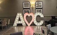 A heart C letter lights, 5ft light up letters, love lights Glasgow, LOVE lights Edinburgh, wedding decor, wedding letter lights, led dancefloor hire.