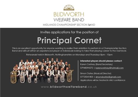 Principal Cornet Vacancy