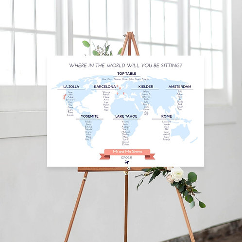 World map wedding seating chart where in the world
