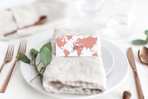 Travel theme wedding place cards