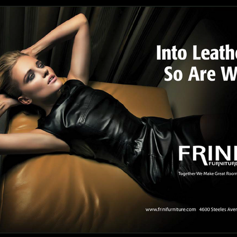 FRINI DOUBLE PAGE AD FOR THEIR NEW LEATHER SOFA ARRRIVALS