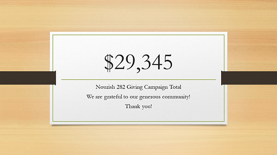 Nourish 282 Giving Campaign Total thank