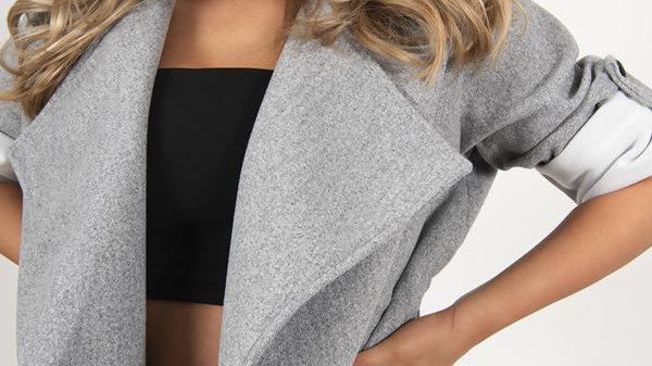 Grey Waist Tie Coat