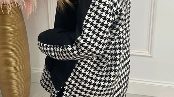 Black and White Houndstooth Hoody