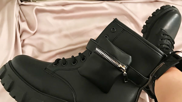 Chunky Black Biker Boot