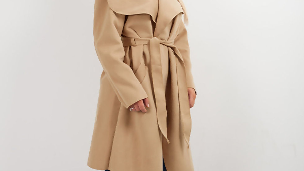 CAMEL WATERFALL DRAPPED DUSTER COAT