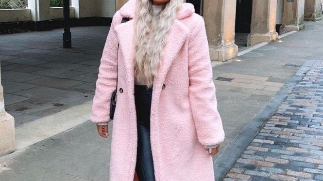 Pink Longline Teddy Coat