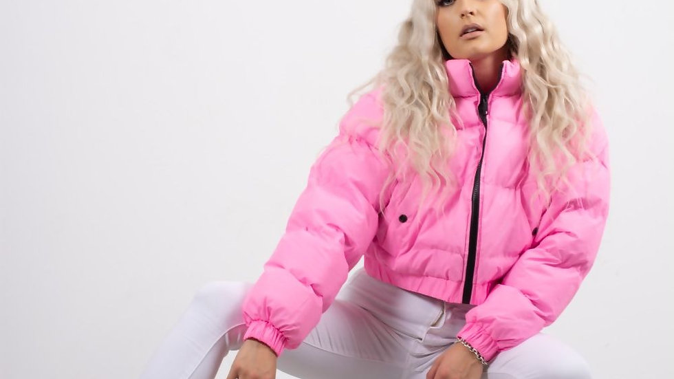 PINK FUNNEL NECK PUFFER JACKET