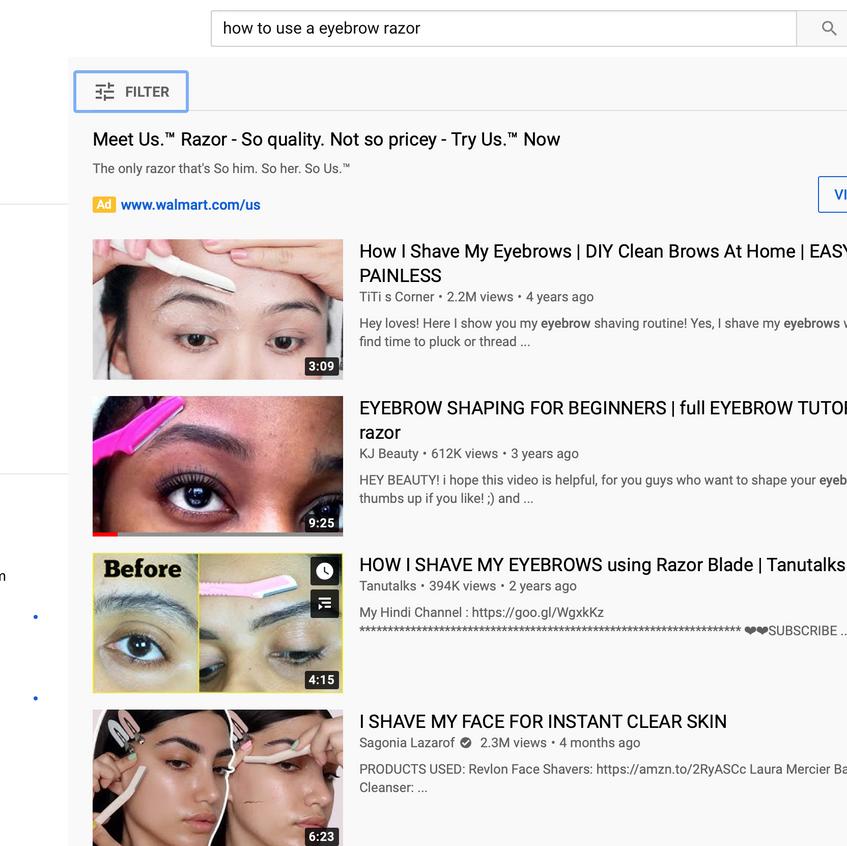 Eyebrow screenshot - Youtube