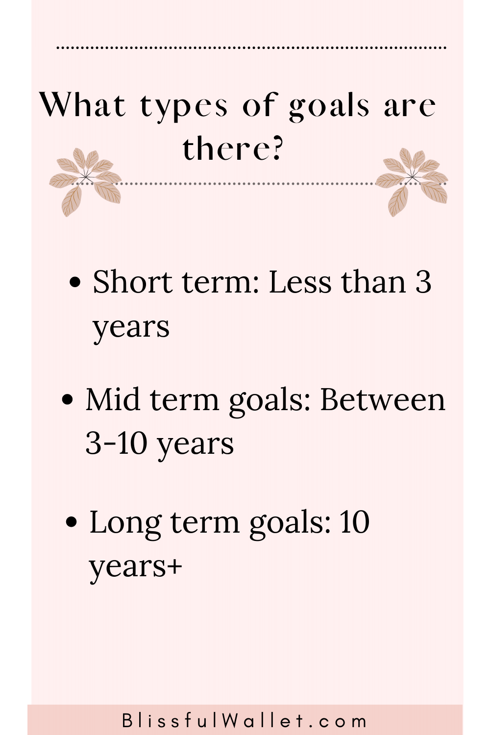 What types of goals are there? Short term, mid term, and long term goals
