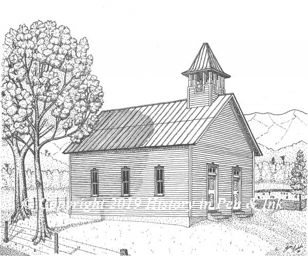 Two Door Methodist Church at Cades Cove, Tennessee