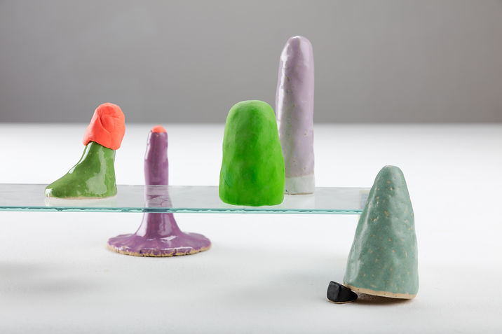 Julia Himmelmann, Berge, Hauben und Hügel, Keramik, bunt, 2017