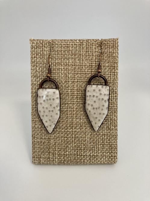 White Petrified Palm Wood Earrings