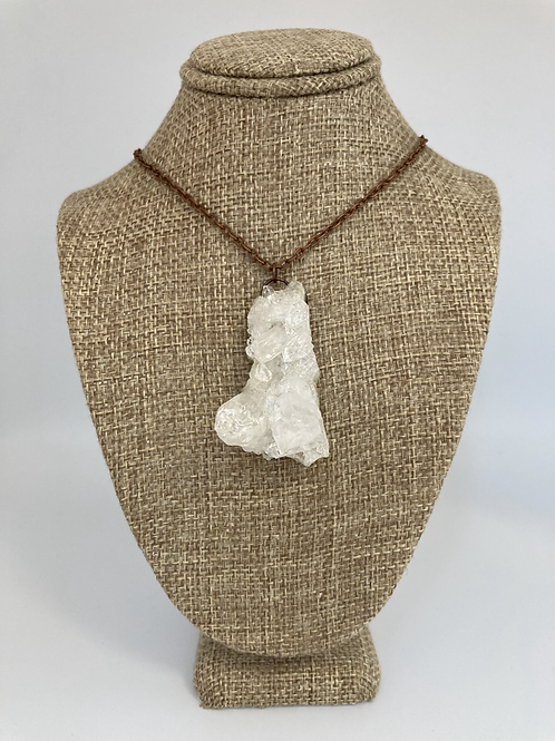 Clear Quartz Cluster Pendant Necklace