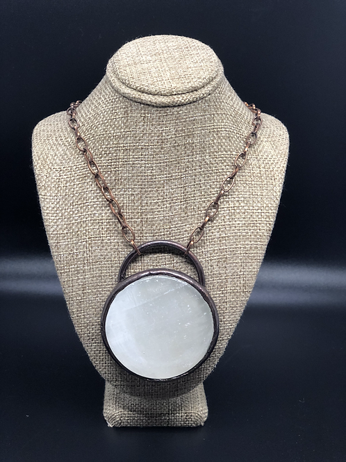 Large Selenite Pendant Necklace