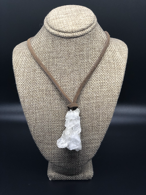 Clear Quartz Cluster Pendant Necklace
