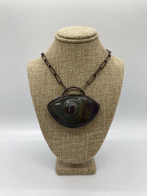 Rainbow Obsidian Eye Pendant