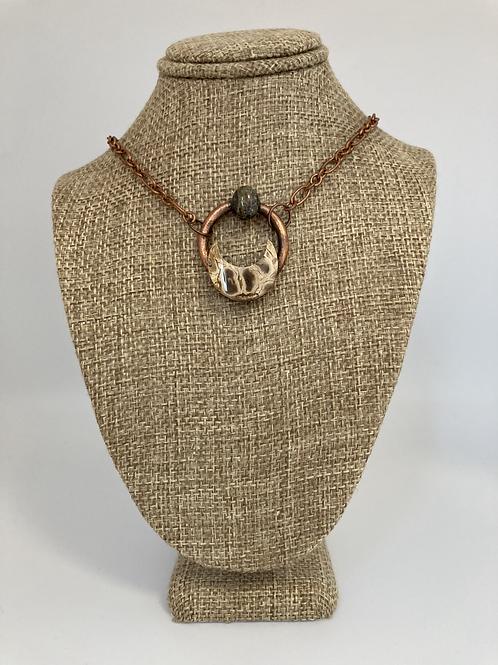 Jasper Crescent Moon Pendant Necklace