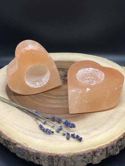 Peach Selenite Votive Candle Holder