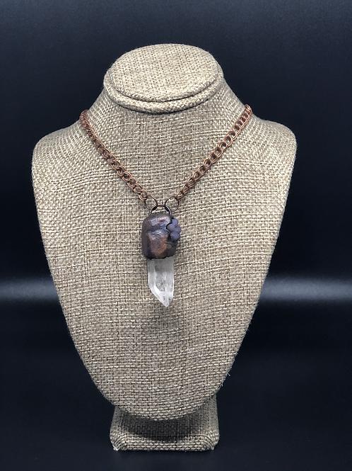 Clear Quartz/Grape Amethyst Pendant Necklace
