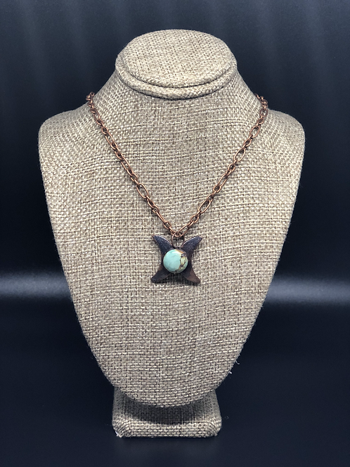 Turquoise Double Crescent Moon Pendant Necklace