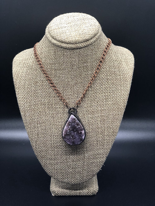 Amethyst Cluster Pendant Necklace