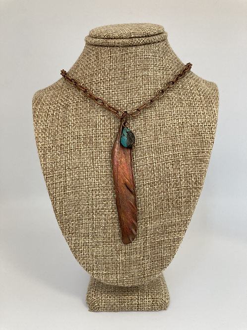 Copper Feather w/Turquoise Pendant