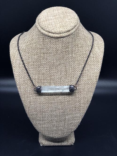 Aquamarine Bar Pendant Necklace