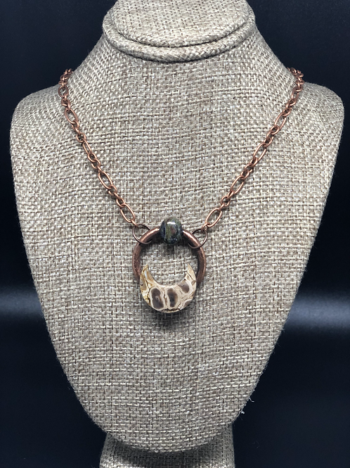 Jasper Crescent Moon Pendant Necklace