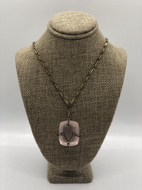 Caged Rose Quartz Pendant Necklace