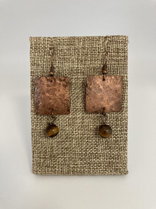 Copper/Tigers Eye Beaded Earrings