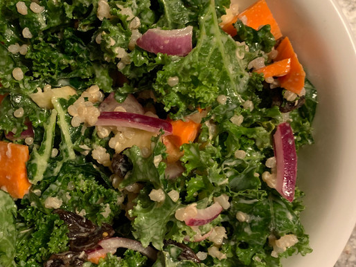 Simple Kale Salad with Creamy Dressing - WFPB, No Oil