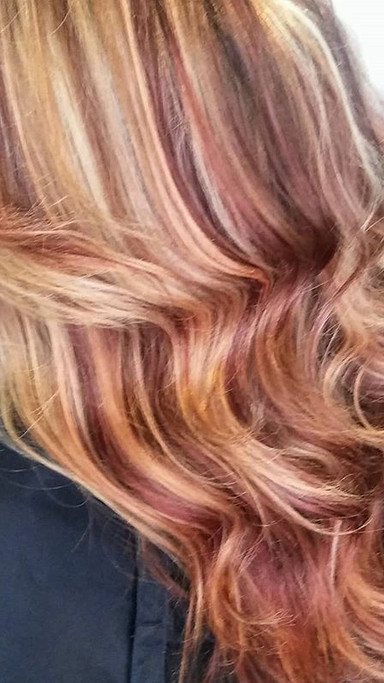 Did this mango apricot base with golden papaya #hilites along with #copperred  #lowlites  love this #colormelt combination ..jpg