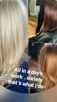 Variety in color for me is being able to accommodate every single one of my clients and customize a color that is special and works for only