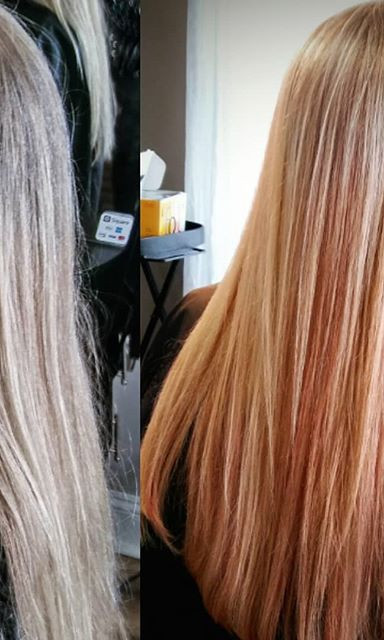 Spiced up this #dimensionalblonde using #redkenpastels #pastelpink and #pastelpeach just melted down from midshaft to ends for some fun!_#re