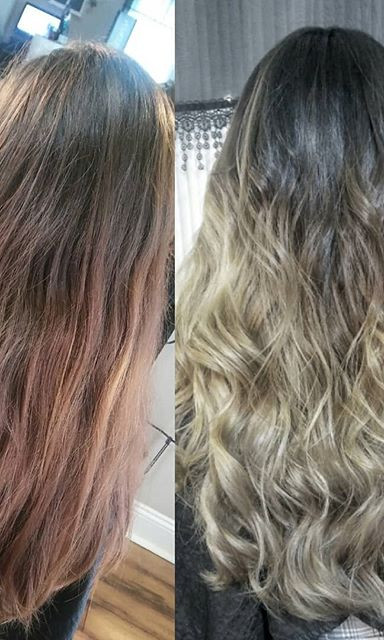 I think this pic shows the #beforeandafter alot better than my other post with the video this was such a beautiful #colormelting #balayagete