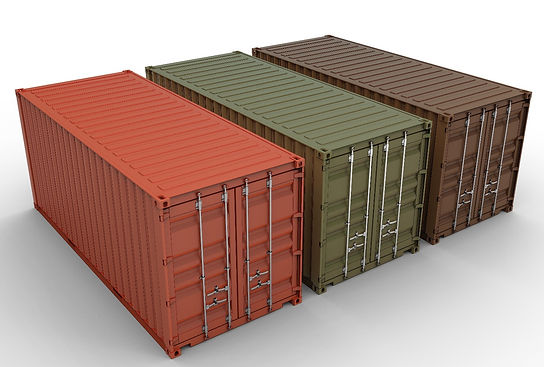 orange, green, brown shipping containers