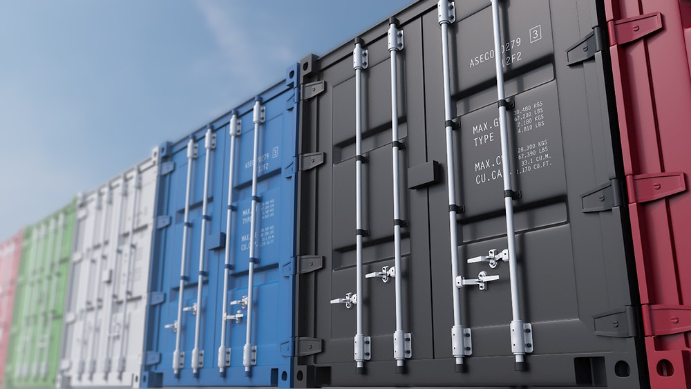 different colors of shipping containers