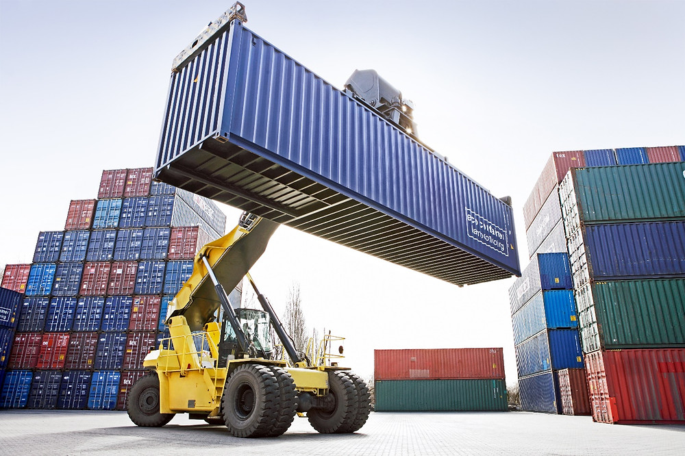 crane lifting shipping container