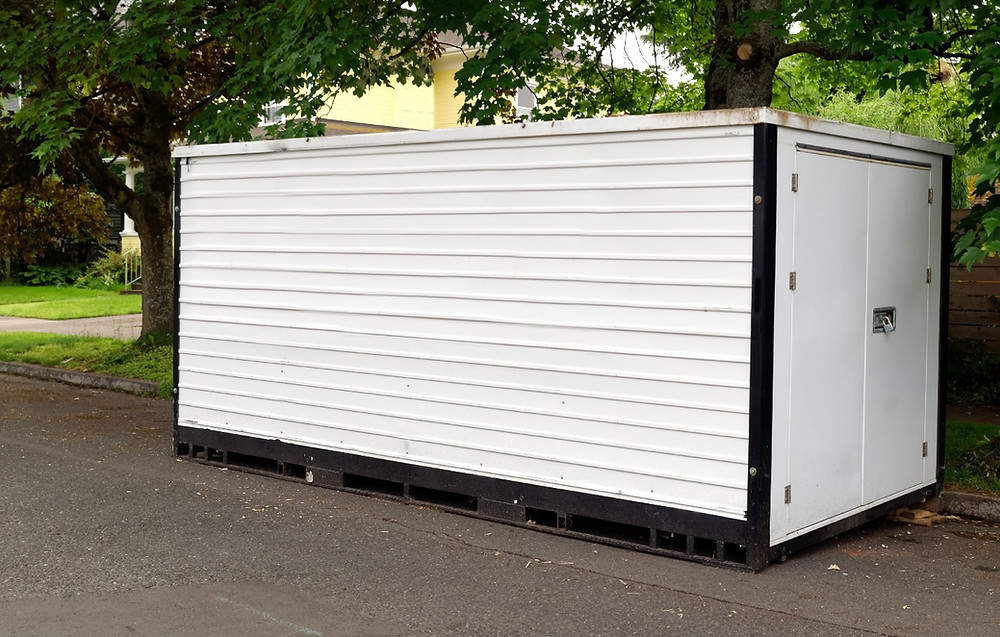 roadside white shipping container
