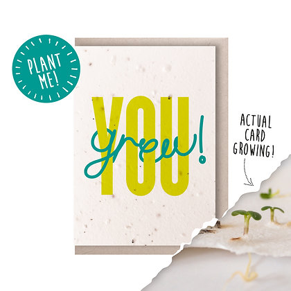 You Grew! Plantable Seed Card Lime