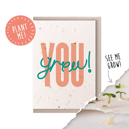 You Grew! Plantable Seed Card Pink