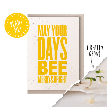 Bee Merry Plantable Seed Card
