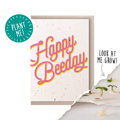 Happy Beeday Plantable Seed Card Pink