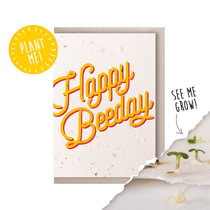 Happy Beeday Plantable Seed Card Yellow