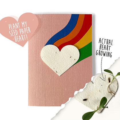 Rainbow Heart Plantable Motif Card