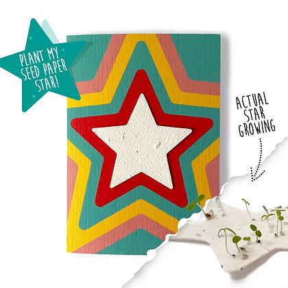 Rainbow Star Plantable Motif Card